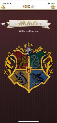 Im Ministeriums-Pass kann man sein Haus wählen: Gryffindor, Slytherin, Hufflepuff oder Ravenclaw.